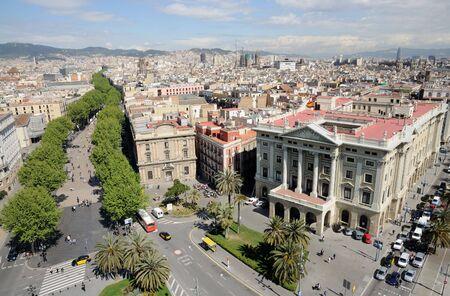 colom: Aerial view over Barcelona from Mirador de Colom