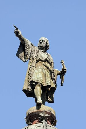 columbus: Monument of Christopher Columbus at end of La Rambla, Barcelona, Spain Stock Photo