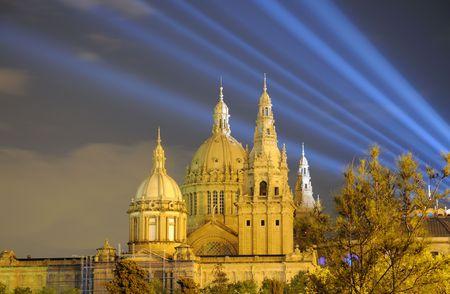 barcelona spain: Palau Nacional illuminated at night. Barcelona Spain