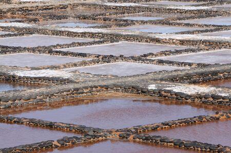 saltmine: Traditional saline on Canary Island Fuerteventura, Spain Stock Photo