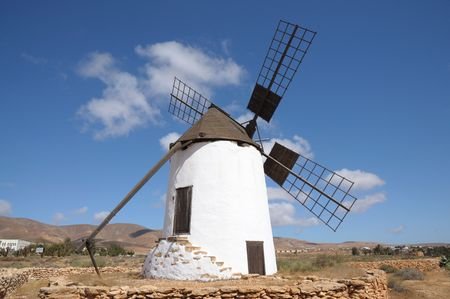 traditional windmill: Traditional Windmill in La Corte, Canary Island Fuerteventura, Spain