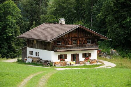 alpine hut: Wooden house in the German Alps Stock Photo