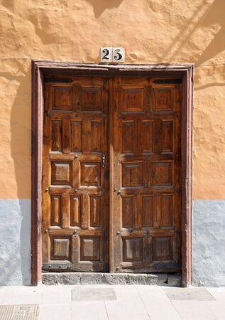 Old wooden door with number 23. Tenerife Spain photo