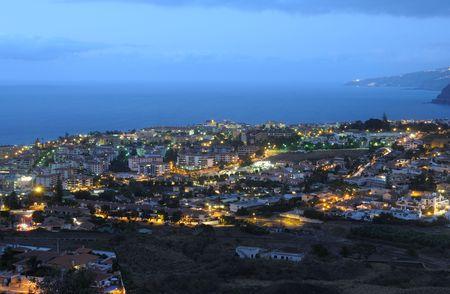 Puerto de la Cruz at dusk. Canary Island Tenerife, Spain