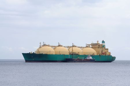 transporting: Gas tanker transporting liquefied natural gas