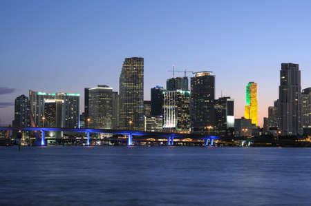 Downtown Miami Skyline at Dusk, Florida USA photo