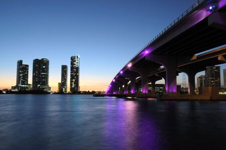 miami sunset: Bridge over the Biscayne Bay at night, Miami Florida, USA