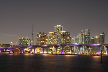 Downtown Miami illuminated at night, Florida USA Stock Photo - 6000667