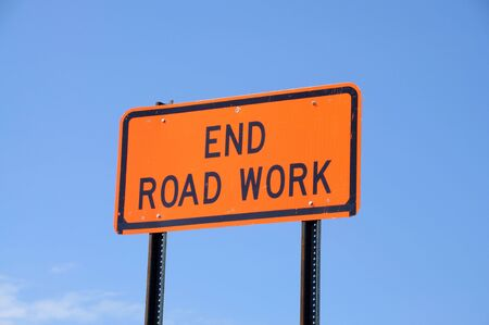 end road: End Road Work Sign