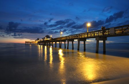 gulf: Fort Myers Pier at Sunset, Florida USA