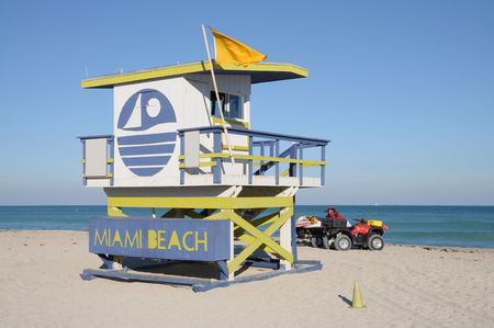 miami south beach: Lifeguard Tower at Miami South Beach, Florida USA Stock Photo