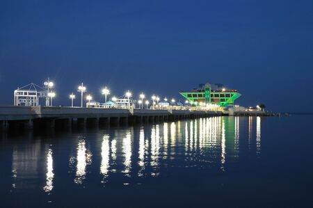 Pier in St. Petersburg illuminated at night. Florida USA photo