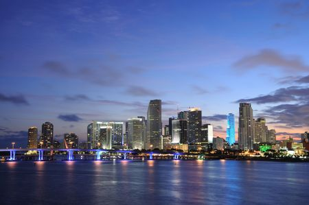 Downtown Miami at dusk, Florida USA Stock Photo