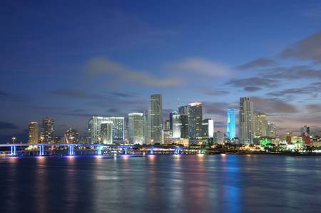 miami sunset: Downtown Miami at dusk, Florida USA Stock Photo