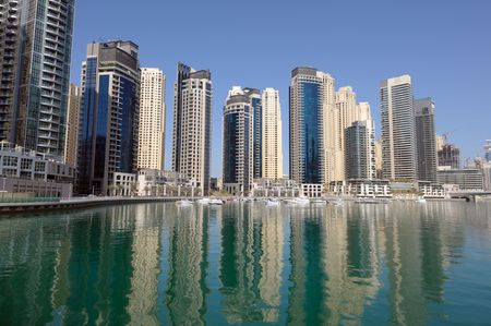 Highrise Modern Buildings at Dubai Marina. Dubai United Arab Emirates