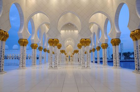 archway: Sheikh Zayed Mosque in Abu Dhabi, United Arab Emirates Stock Photo