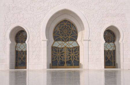 arabic style: Doors of the Sheikh Zayed Mosque in Abu Dhabi, UAE Stock Photo