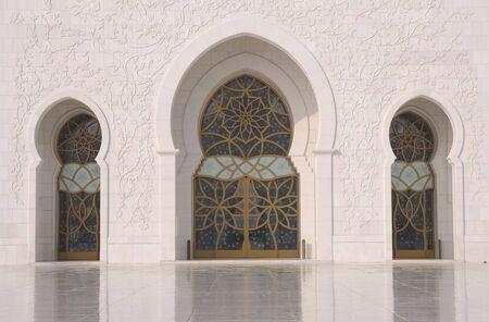 arabic  style: Doors of the Sheikh Zayed Mosque in Abu Dhabi, UAE Stock Photo