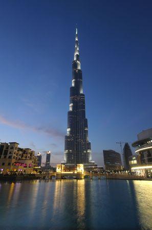 Burj Khalifa at dusk. Dubai United Arab Emirates