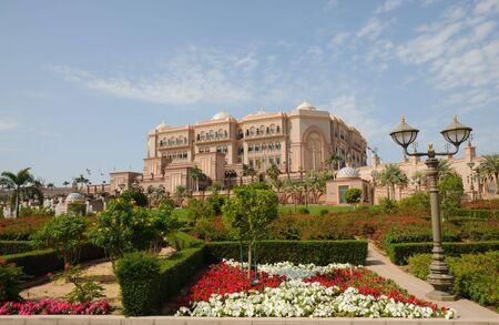 Verenigde Arabische Emiraten: Het Emirates Palace in Abu Dhabi, Verenigde Arabische Emiraten Stockfoto