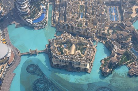 Aerial view of Downtown Burj Khalifa, Dubai United Arab Emirates