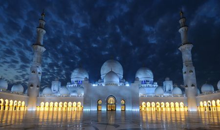 the emirates: El Jeque Zayed mezquita por la noche. Abu Dhabi, Emiratos �rabes Unidos