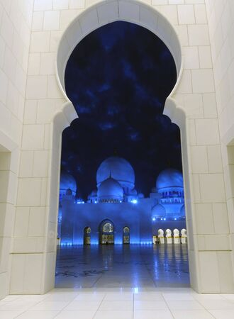 Detail of the Sheikh Zayed Mosque at night. Abu Dhabi, United Arab Emirates Stock Photo - 6404779