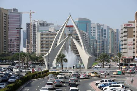 roundabout: Dubai, UAE- January 24, 2010: Tower Clock Roundabout in Deira, the old town of Dubai. United Arab Emirates
