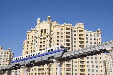 monorail: The Palm Jumeirah Monorail. Dubai United Arab Emirates Stock Photo