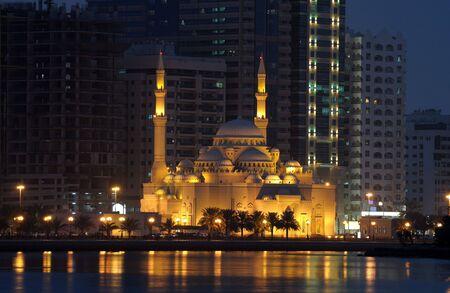 sharjah: Al Noor Mosque in Sharjah City at night. United Arab Emirates