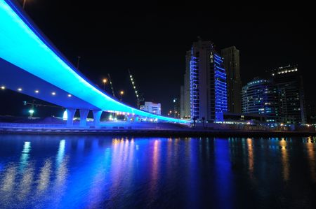 marina: Blue Bridge in Dubai Marina, United Arab Emirates Stock Photo