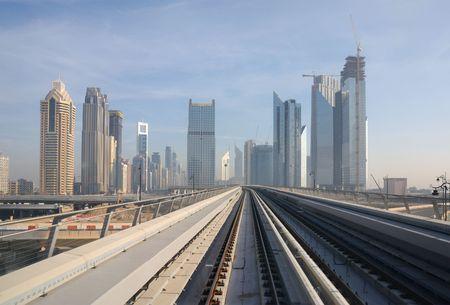 Metro tracks in Sheikh Zayed Road, Dubai United Arab Emirates photo
