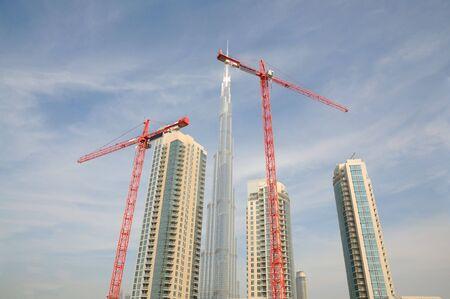Verenigde Arabische Emiraten: Site in opbouw in Dubai, Verenigde Arabische Emiraten Stockfoto