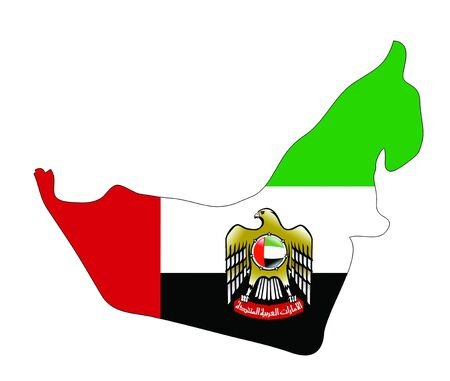 arab flags: United Arab Emirates map with coat of arms Stock Photo