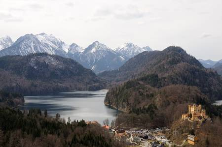 schwangau: Alpine Landscape and Castle Hohenschwangau in Bavaria, Germany