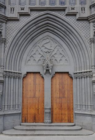 grand canary: Cathedral door in Arucas, Grand Canary, Spain