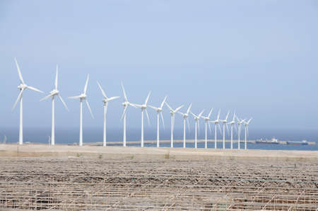 grand canary: Windturbines for clean energy. Grand Canary Island, Spain Stock Photo