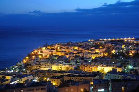 Town Morro Jable at night. Canary Island Fuerteventura, Spain  photo