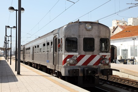 Train at railway station platform. Faro, Portugal Stock Photo - 7383851