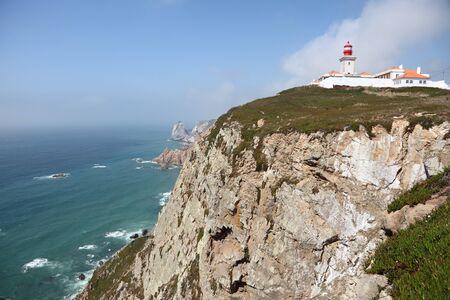 roca: Cabo da Roca Lighthouse at the Atlantic Coast in Portugal