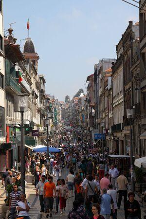 Rua de Santa Catarina - pedestrian shopping street in the old town of Oporto, Portugal. Photo taken at  03 July 2010