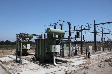 isolator insulator: High voltage electric converter station Stock Photo