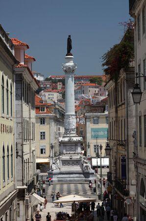 Dom Pedro IV statue at Rossio square in Lisbon, Portugal. Photo taken at 27 June 2010