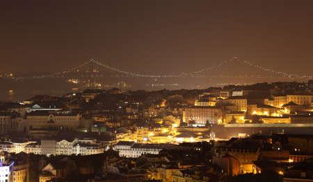 City of Lisbon at night, Portugal photo