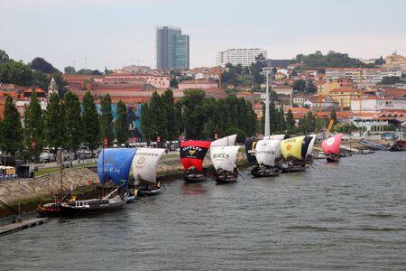 Vila Nova de Gaia and old Port Wine transport ships, Portugal. Photo taken at 2nd of July 2010