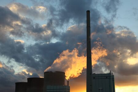 Nuclear power plant in the sunset photo