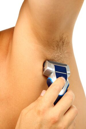 hairy male: Male person shaves his armpit