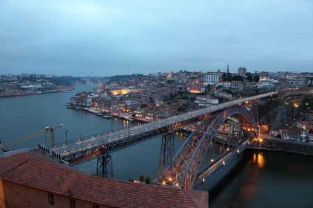 oporto: Dom Luis Bridge illuminated at dusk, Oporto Portugal