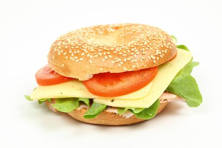 bagel: Fresh bagel sandwich over white background