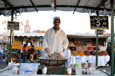 20th: Cooked Snails for sale at Djemaa El Fna Square in Marrakesh. Photo taken at 20th of November 2008 Editorial